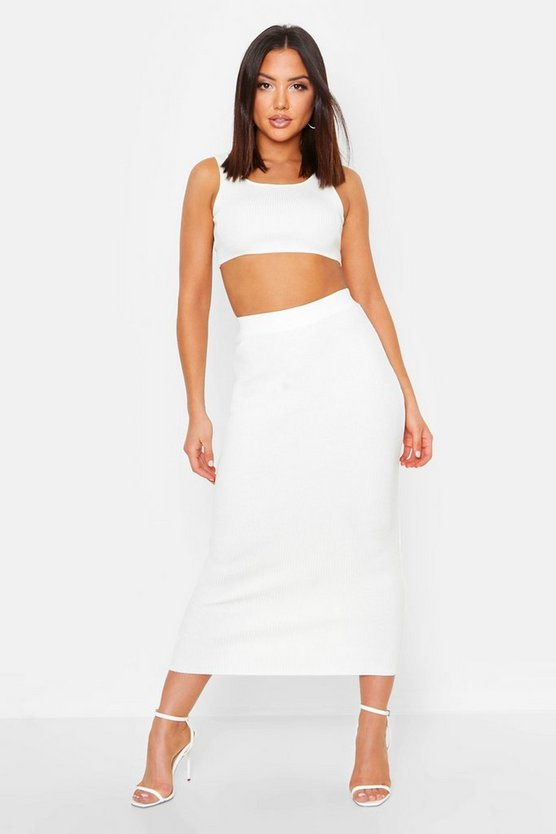 Womens White Ribbed Knit Skirt Co-Ord