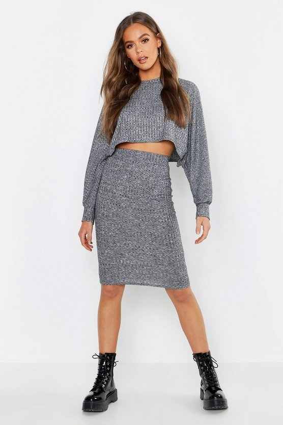 Womens Grey Sleeve Detail Crop & Midi Skirt Co-Ord