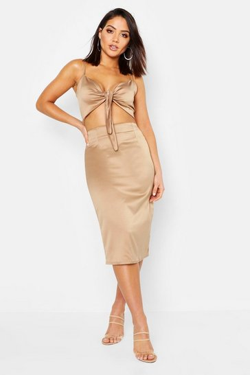 Womens Champagne Satin Bow Crop Top & Midi Skirt Co-Ord