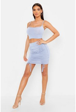 Womens Cornflower blue Slinky Strappy Bardot & Mini Skirt Co-Ord