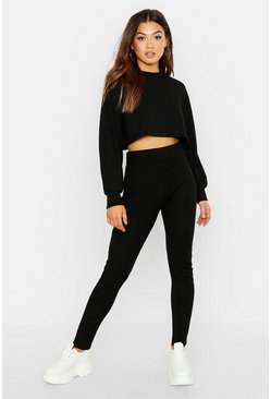 Black Rib Knitted Oversized Top & Legging Co-Ord