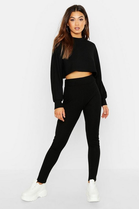 Womens Black Rib Knitted Oversized Top & Legging Co-Ord