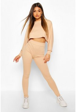 Rib Knitted Oversized Top & Legging Co-Ord, Stone
