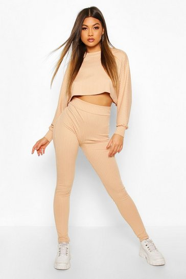 Womens Stone Rib Knitted Oversized Top & Legging Co-Ord