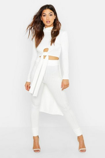 Womens White Rib Crop Front Longline Top & Legging Co-Ord