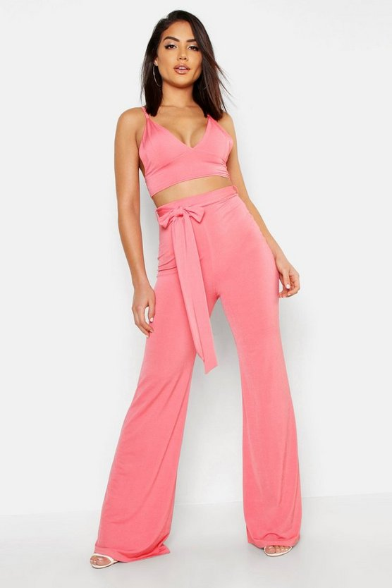 Womens Coral Tie Detail Wide Leg Trouser & Bralet Co-Ord
