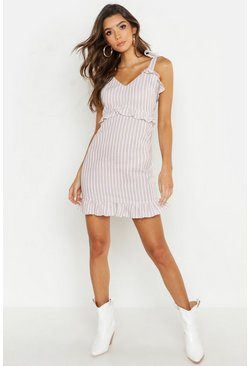 Womens Ecru Cotton Stripe Ruffle Detail Shift Dress