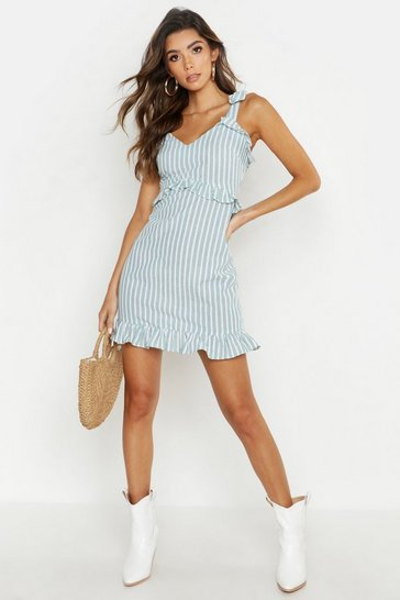 Womens Sage Cotton Stripe Ruffle Detail Shift Dress