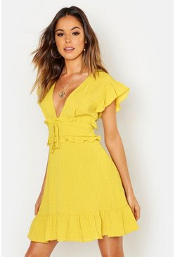 Womens Chartreuse Crinkle Fabric Ruffle Detail Plunge Shift Dress