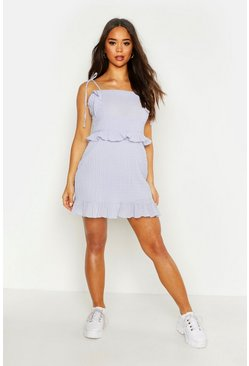 Womens Powder blue Crinkle Fabric Ruffle Detail Shift Dress
