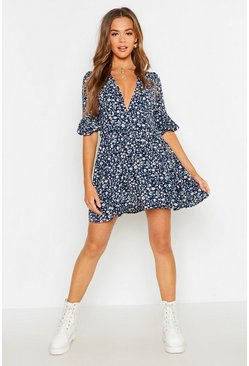 Womens Navy Ditsy Floral Rouched Waist Skater Dress
