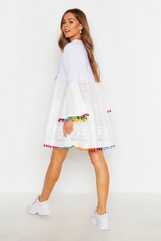 Pom Pom Trim Broderie Anglais Smock Dress by Boohoo