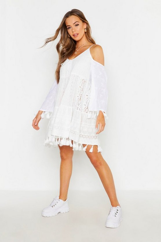 Womens White Tassel Trim Broderie Anglais Smock Dress