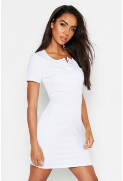 Womens White Popper Detail Notch Neck Bodycon Dress