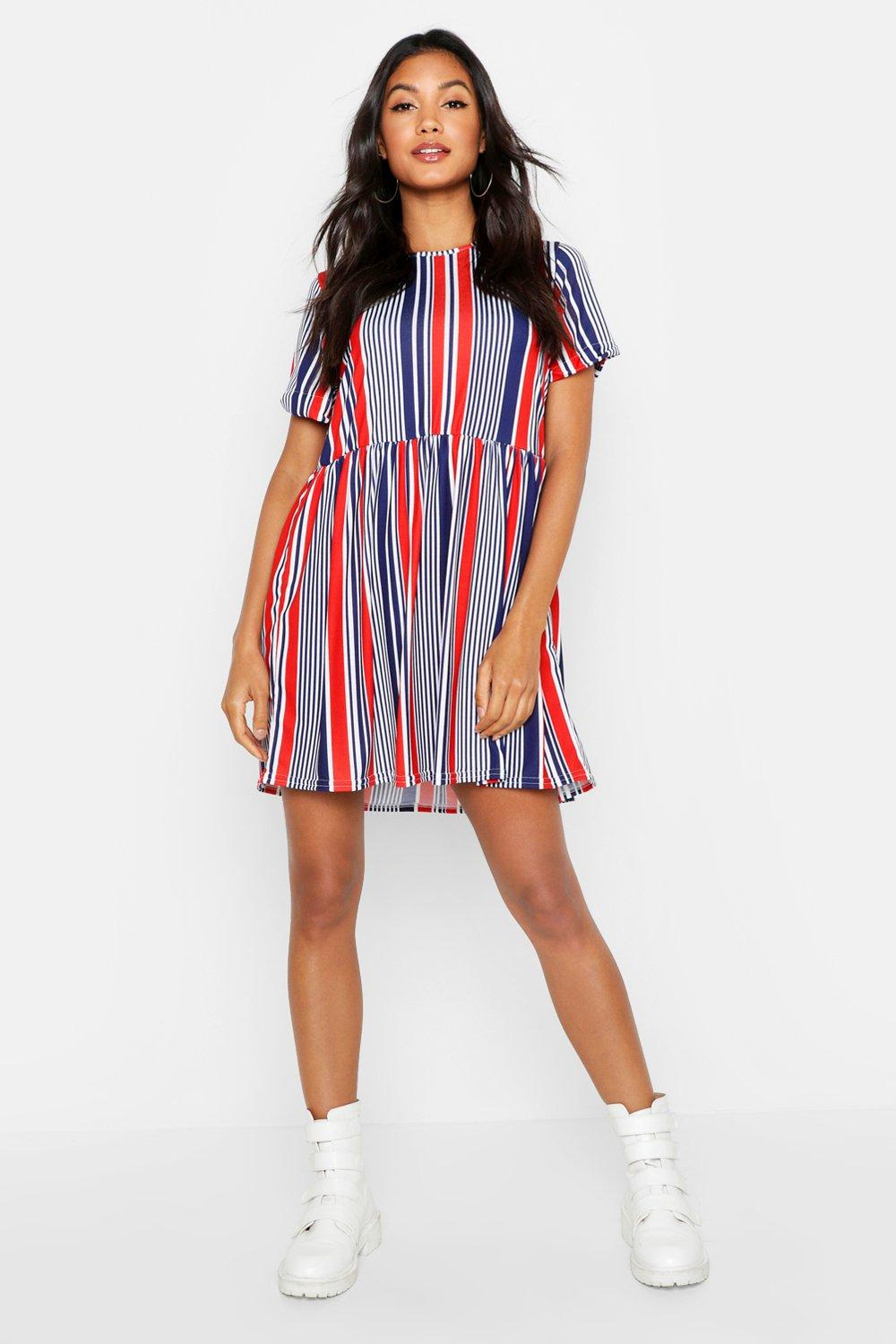 Nautical Stripe Gathered Waist Smock Dress