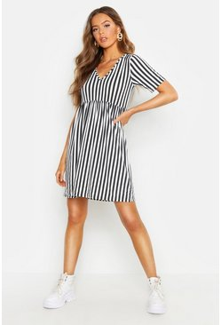 White Mono Stripe Short Sleeve Smock Dress