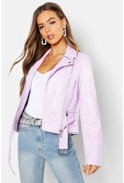 Womens Lilac Faux Leather Biker Jacket