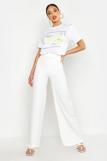 Womens White Woven Self Belt Round Buckle Wide Leg Trouser