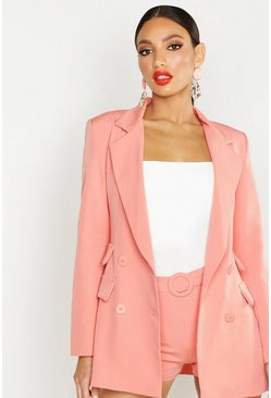 Womens Coral Woven Double Pocket Blazer