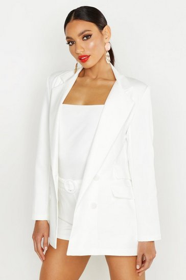 Womens White Woven Double Pocket Blazer