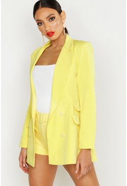 Womens Yellow Woven Double Pocket Blazer