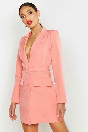 Womens Coral Woven Self Belt Round Buckle Blazer Dress