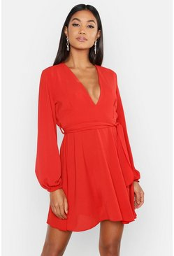 Terracotta Belted V Neck Shift Dress