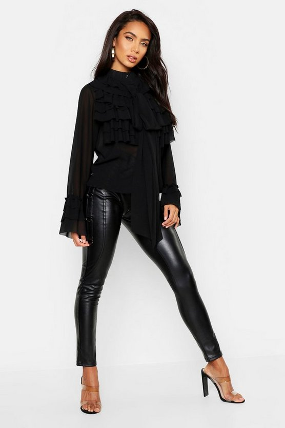 Black Ruffle Detail Long Sleeve Blouse