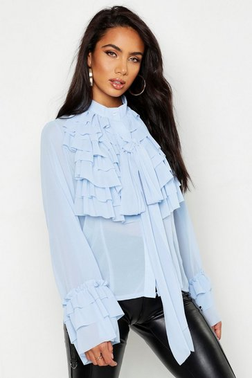 Womens Cornflower blue Ruffle Detail Long Sleeve Blouse