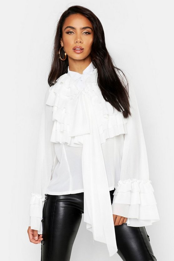 Ruffle Detail Long Sleeve Blouse, White, Donna
