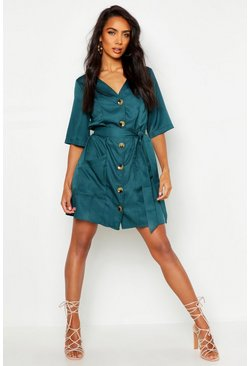 Womens Teal Button Through Shirt Dress