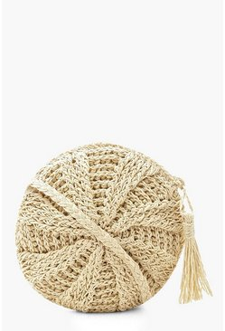 Womens Cream Round Straw Cross Body Bag