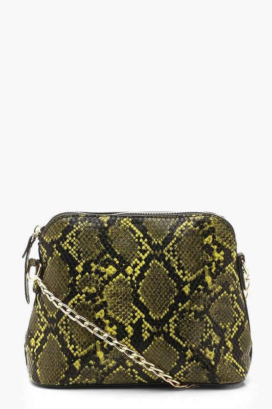 Womens Lime Faux Snake Ziparound Cross Body