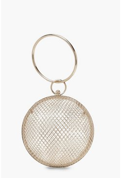 Womens Gold Cage Sphere Clutch Bag