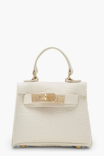 Womens White Faux Croc Micro Mini Grab Bag