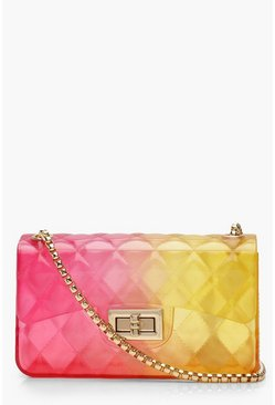 Womens Pink Ombre Jelly Quilt Cross Body Bag
