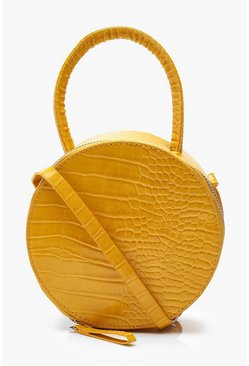 Womens Mustard Grab Handle Round Croc Cross Body Bag