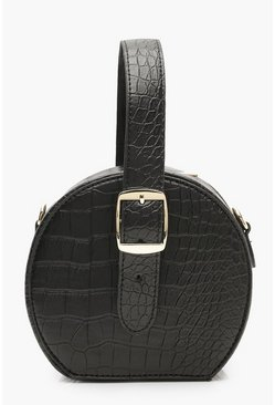 Dam Black Grab Handle Faux Croc Round Bag
