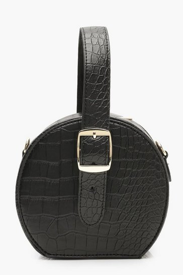 Womens Black Grab Handle Faux Croc Round Bag