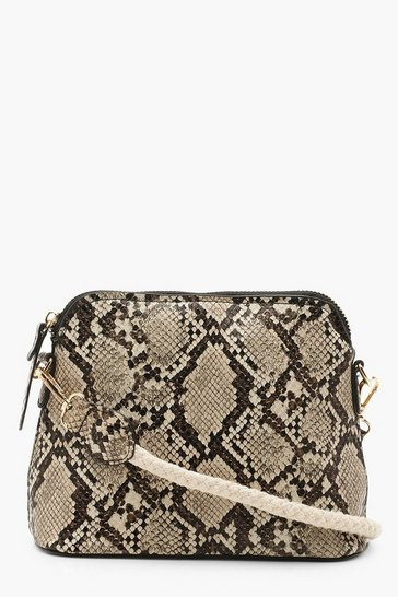Womens Natural Rope & Faux Snake Cross Body Bag