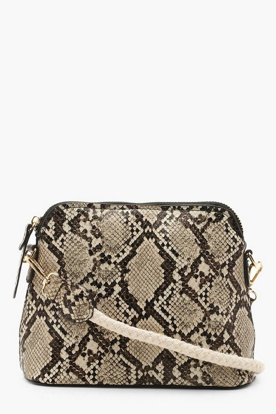 Womens Natural Rope & Faux Snake Cross Body