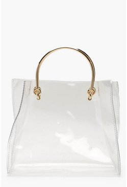 Womens Clear Ring Handle Grab Bag