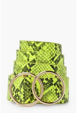 Womens Lime Neon Snake Boyfriend Belt