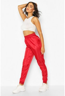 Shellsuit Oversized Cuff Bottom Jogger, Red