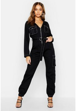 Womens Black Contrast Stitch Denim Jumpsuit