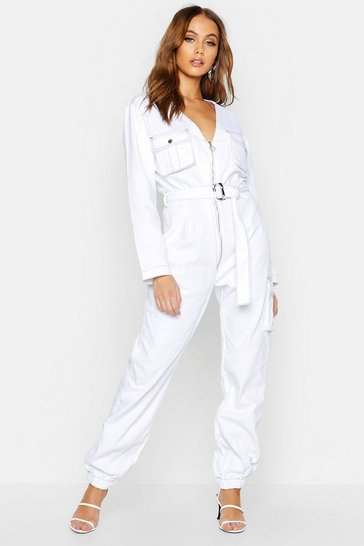 Womens White Contrast Stitch Denim Jumpsuit