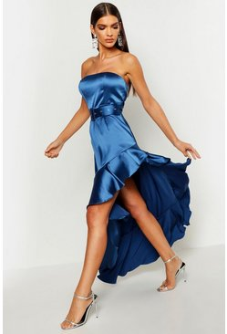Womens Navy Satin Belted Asymmetric Ruffle Maxi Dress