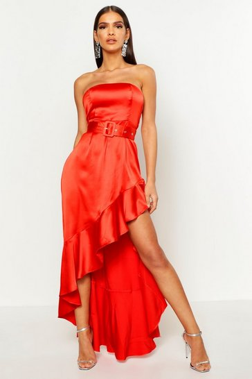 Womens Red Satin Belted Asymmetric Ruffle Maxi Dress