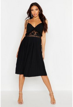 Womens Black Lace Insert Pleated Midi Skater Dress
