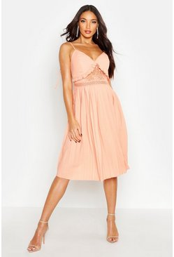 Peach Lace Insert Pleated Midi Skater Dress